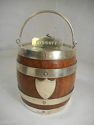 Vintage Brass Band Oak Biscuit Barrel  1293