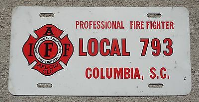 South Carolina professional Fire Fighter Columbia  Local 793 license plate