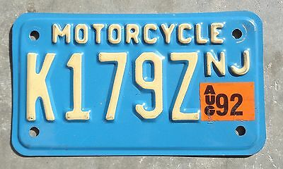 New Jersey motorcycle 1992 license plate #  K 179 Z