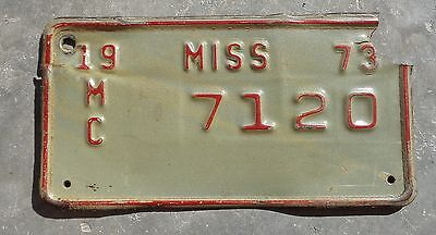 Mississippi 1973 motorcycle license plate #  7120