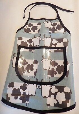 Hand Crafted KIDS DESIGN OILCLOTH CHILDRENS COOK/CRAFT APRON: AQUA COWS