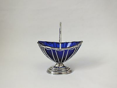 Vintage Cobalt Blue Glass Liner & Chrome Sugar Bowl Bonbon Dish
