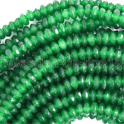 """Faceted Jade 4x6mm Gemstone DIY Jewelry Making Green Loose Beads Strand 15"""""""