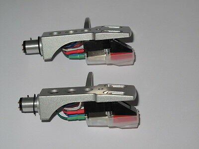 Silver Headshell x 2 /Stereo Moving Magnetic Cartridge + Diamond Stylus Assembly