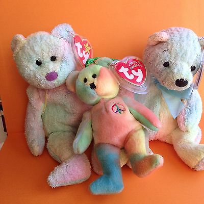 ty beanie babies Peace Mellow Groovy Collectible Bears Tie Dye Hippie Excellent