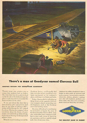1949 vintage AD Goodyear Rubber Tires Airplane Brakes ART Cessna Model A  071516