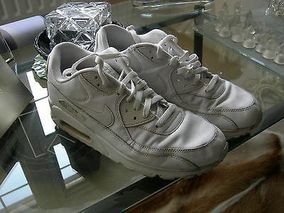 Nike Air Max 90 Leather Triple White Trainers Uk Size 10 Uk