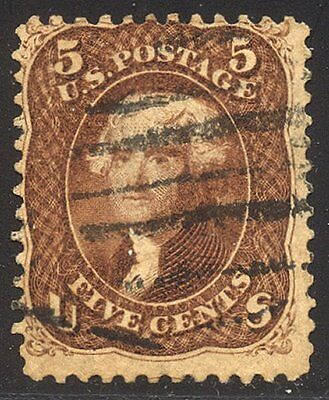 U.S. #75 SCARCE Used - 5c Red Brown ($425)