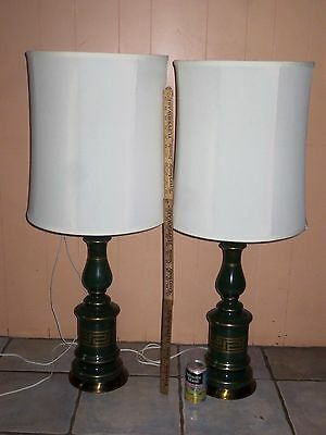 Pair Vintage Midcentury Retro Rembrandt Style Table  Lamp  And Shades
