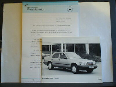 PRESS RELEASE FOR THE MERCEDES-BENZ 300E - APRIL 7th 1988