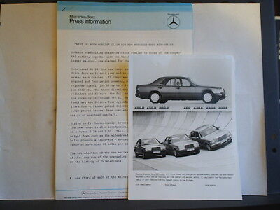 PRESS RELEASE FOR THE MERCEDES-BENZ 200 & 300 SERIES RANGE - DECEMBER 8th 1984