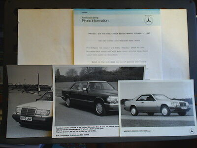 PRESS RELEASE FOR THE MERCEDES-BENZ 230CE & 300CE COUPE - OCTOBER 5th 1987