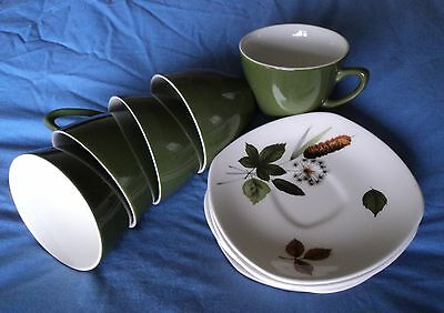 Midwinter. Riverside. With Bullrush. 5 Cups & 4 saucers.