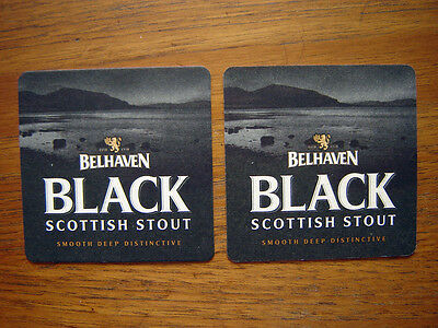 2  Belhaven  Black  Scottish  Stout  Beer  Mats / Coasters /sous Bock   New
