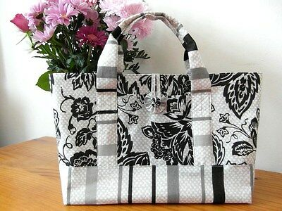 Knitting,  Crochet, Craft Tote Bag Floral/stripe With Front Pocket Hand Made New