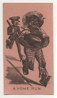 ANTIQUE Black Americana TRADE CARD Home Run RUNNING FROM POLICE Racist AFRICAN
