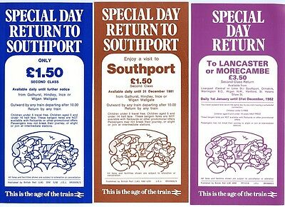 B.R. LIVERPOOL AREA, 3 X SPECIAL DAY RETURN LEAFLETS: SOUTHPORT, LANCASTER 1980s
