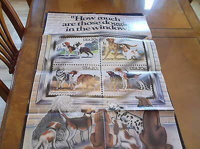 Original 1984 Us Postal Service Poster Stamp Collecting Dogs 36X24 Inch #551