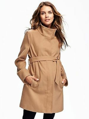 Old Navy New Maternity Camel Funnel Neck Belted Coat Jacket   L
