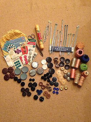 Collection Of Knitting, Sewing, Embroidery Items, Button Sets Etc. Some Vintage