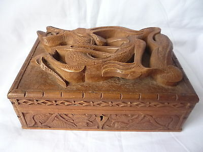 Antique Chinese Wooden Carved Dragon in Relief Jewellery Trinket Box