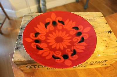 Vintage Colourful Red Patterned Enamel Serving Bowl – Mid-Century – Great! –