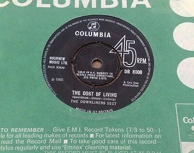 """Downliners Sect  """" The Cost Of Living   """"super Very Rare Orig Uk 7 """" L@@k"""