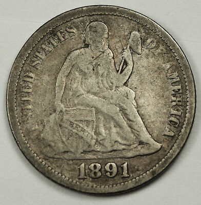 1891 Liberty Seated Dime.  V.G.-F.  84182