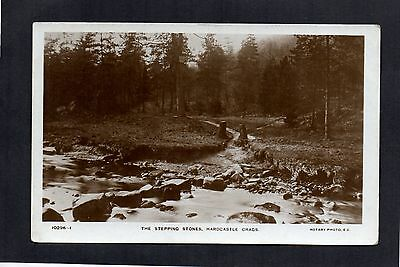The Stepping Stones, Hardcastle Crags, Yorkshire. Rotary Real Photo Postcard