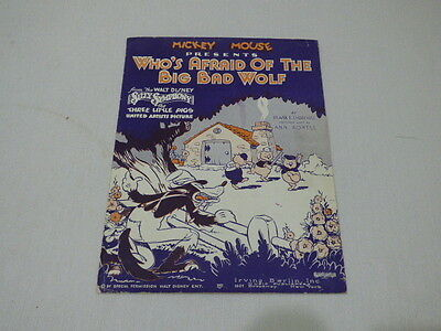 Old Mickey Mouse  Who's Afraid Of The Big Bad Wolf  Sheet Music Irving Berlin