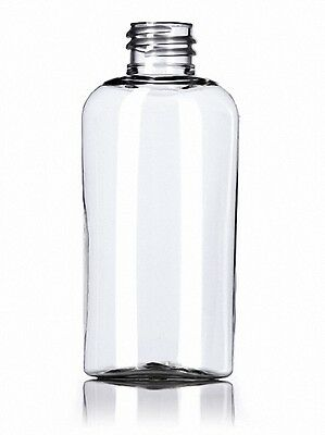 1-3/4 oz (50 ml) OVAL Shaped Clear PET Plastic Bottles w/Caps (Lot of 100)