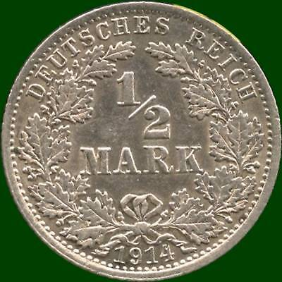 1914 'A' Germany 1/2 Mark Silver Coin ( 2.777 grams .900 Silver )