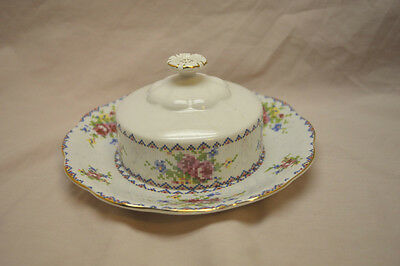 Royal Albert Petit Point China Covered Butter Dish Gold Trim