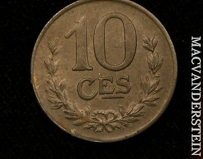 1923 Luxembourg 10 Centines- Scarce !! Better Date !! #o7772