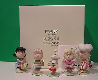 LENOX PEANUTS BARBECUE 5 piece Set NEW in BOX with COA Snoopy Linus Lucy
