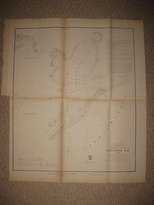 Superb Early Rare Important Antique 1855 Galveston Texas Map Date In Title Nr