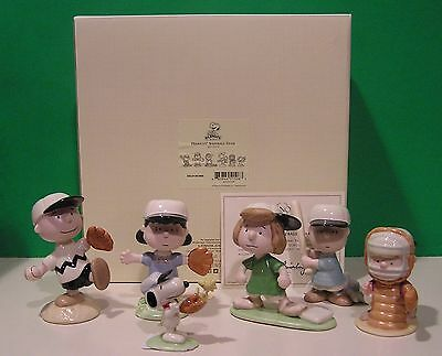 LENOX PEANUTS BASEBALL TEAM 6 piece Set NEW in BOX with COA Snoopy Linus Lucy