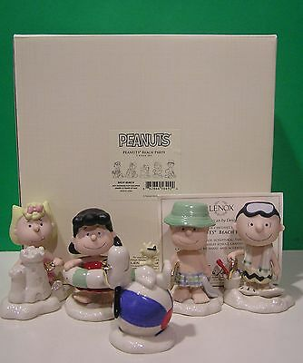 LENOX PEANUTS BEACH PARTY 5 piece Set NEW in BOX with COA Snoopy Linus Lucy