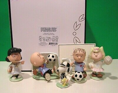 LENOX PEANUTS SOCCER 5 piece Set NEW in BOX with COA Snoopy Linus Lucy