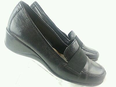 NATURAL SOUL  SOLE BY NATURALIZER Women's Black Leather Loafers Size 7 W
