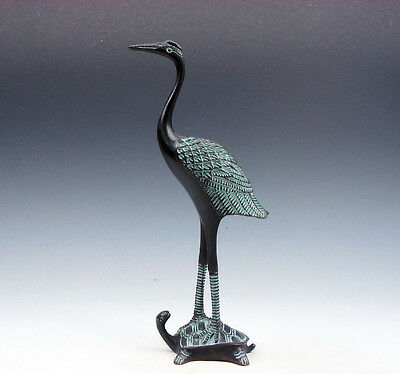 Vintage Bronze Crafted Sculpture Crane Standing On Turtle #01291701