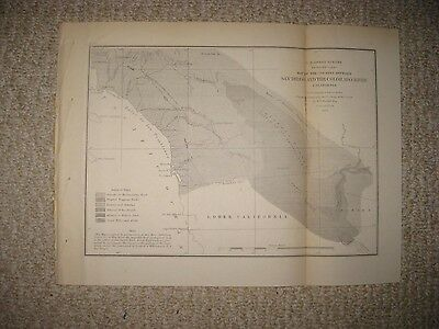 Early Antique 1855 San Diego Colorado River Los Angeles California Map Geology