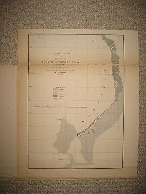 Early Antique 1855 Monterey Bay California Map Geology Geological Maritime Fine