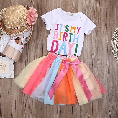USA Toddler Kids Baby Girls Outfits Clothes T-shirt Tops+Tutu Dress Skirt 2PCS