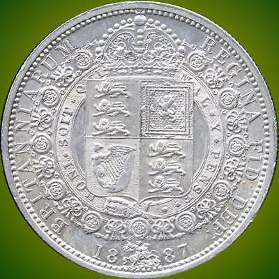 1887 Great Britain 1/2 Crown Silver Coin (14.138 Grams .925 Silver)