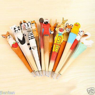 Creative Carved Wood Natural Ball Point Pen Animal Collection Handmade Pen Gift