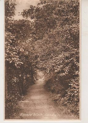Sandy. Lovers Walk. Old Frith sepia print postcard in GC. Unused