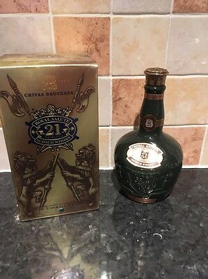 Chivas Regal Brothers Royal Salute 21yr Old Whisky Emerald Flagon Bottle & Box