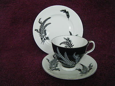 """Royal Albert Trio In Black And White With Platinum Trim """"night And Day"""""""