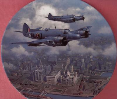 Royal Doulton Beaufighter Over The Liver Building Plane Plate Roy Huxley Boxed